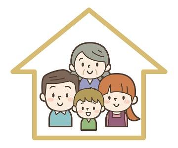 三世帯家族と家の画像