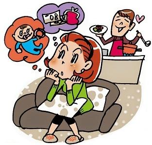 ライフプランを考える妻と家事を手伝う夫
