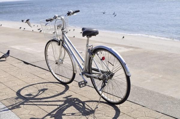海岸の堤防上に置かれた自転車