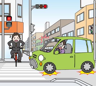 赤信号を無視して横断しようとする自転車