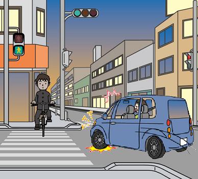 夜間に無灯火で横断歩道を渡ろうとする自転車