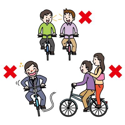 自転車の様々な交通違反のイラスト